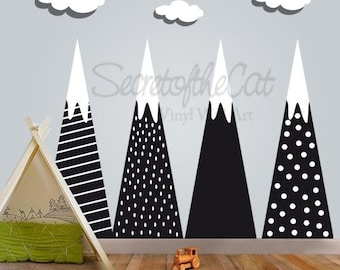 Mountain decal - Wall decal - Mountains- Children Wall decal - Nursery decal - Nursery wall decal - Big decal