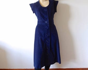 1970s Vicky Vaughn Dress - vintage navy blue corduroy button front shirtwaist