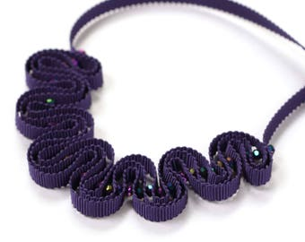Violet ribbon necklace with sparkling beads