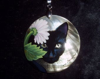 "Russian Mother of pearl Pendant "" Black Cat with Pink Flower "" Hand Painted"