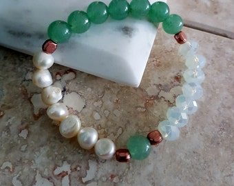 Lucky Bracelet with Crystal Rondelle, Freshwater Pearls, Green Aventurine and, Copper Beads Stretch Bracelet/ Gemstone/Healer