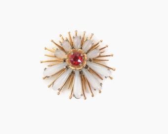 Vintage 40s DRESS CLIP / 1940s Large Gold Milky Moonstone & Ruby Floral Starburst Dress Fur Clip