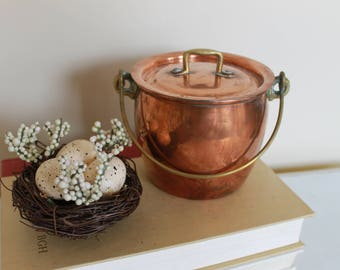 Vintage Italian Copper Pot with Lid, Italian Jenzo Copper Pot with Handle, Vintage Copper, Copper Bean Pot, Brass and Copper
