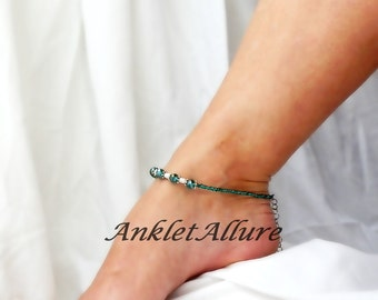 Anklet Pearl Ankle Bracelet Teal Anklet Beach Anklet GUARANTEED