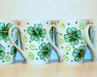 Shamrock or 4 leaf Clover Cups Hand Painted Set of 4 -14 oz. Porcelain Mugs Irish Coffee Mugs Coffee Cups Kelly Green St. Patrick's Day