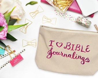 Christian Pencil Bag ~ I Love Bible Journaling ~ Hand-Lettered Design ~ Heart Red Purple