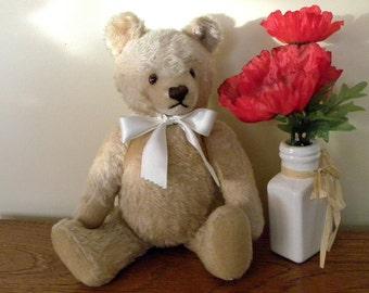 """Steiff Bear - 12"""" Mohair Teddy Bear - Heart Shaped Steiff Mask Bear"""