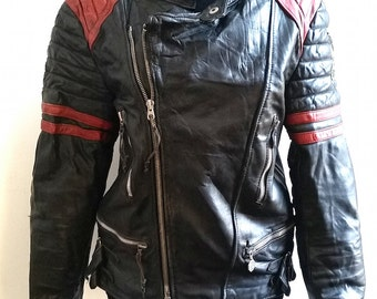Black Leather Motorcycle Jacket 1980s Made in Germany