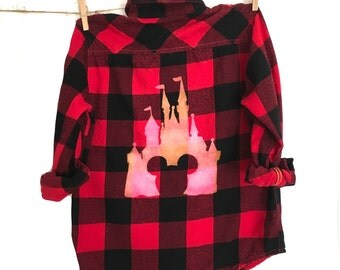 Kids Disney Shirt in Red Plaid Flannel. Black buffalo check Mickey Mouse ears vacation Disney world tshirts magic kingdom castle Cinderella