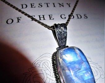 Lightning of Ragnarök - Moonstone Sterling Silver Pendant - Moon Magic, Spiritual Peace, Connection to Earth, Night Magic, Goddess Love, Joy