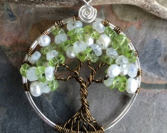Tree of Life Pendant-Wire Wrapped  Tree of Life JUNE Birthstone Tree of Life Necklace, Family Tree of Life, Custom Tree, Mothers Day Gift