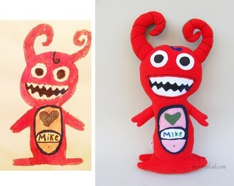Custom gifts from children artwork Turn kids drawiing into stuffed plushie - MADE TO ORDER