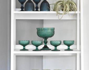 large green teal depression glass bowl goblet / floral flower / pressed glass centerpiece