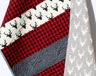 Buffalo Plaid Quilt Deer Buck Bedding Nursery Lumberjack Plaid Buffalo Check Red Black Woodland Blanket Bears Wood Boy Girl Ready to Ship