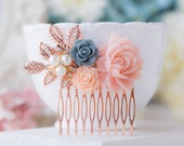 Rose Gold Wedding Bridal Hair Comb  Plush Pink Dusty Blue Flower Rose Gold Leaf Branch Cream White Pearl Rhinestone Floral Wedding Comb