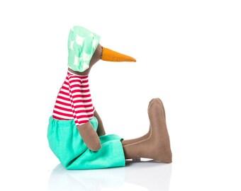 Textile bird doll , penguin Stuffed Animal , brown bird , fabric doll , plush duck doll , geese doll , eco newborn doll , Orange red mint
