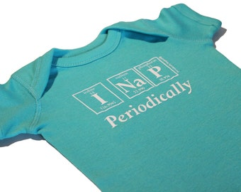 Periodically Inspired I NAP PERIODICALLY Periodic Table Baby Creeper -  New Baby Bodysuit For Periodic Table Fans (Seafoam Green)