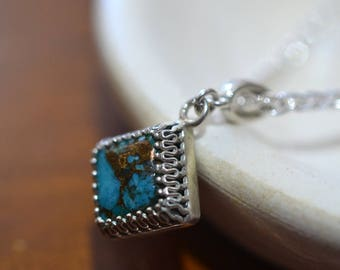Copper Turquoise Pendant, Choice of 4 Sterling Silver Chains, Square Gemstone Necklace, Unique Women's Statement Jewelry