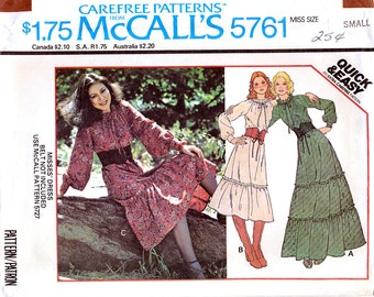 McCall's 5761 Vintage 70s Sewing Pattern for Misses' Peasant Dress - Uncut - Size Small 10-12
