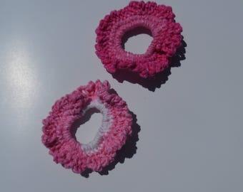 crochet hair tie, pony tail holder, hair scrunchie, hair accessory, girls, pink hair tie, crocheted hair tie