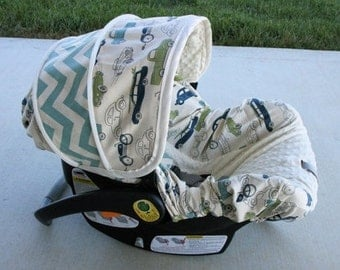 Retro Cars with Chevron accents and cream miny - Infant car seat cover - Custom order