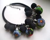 Black necklace - Felt necklace - Handmadenecklace - OOAK necklace - Felt necklace with vintage fabric