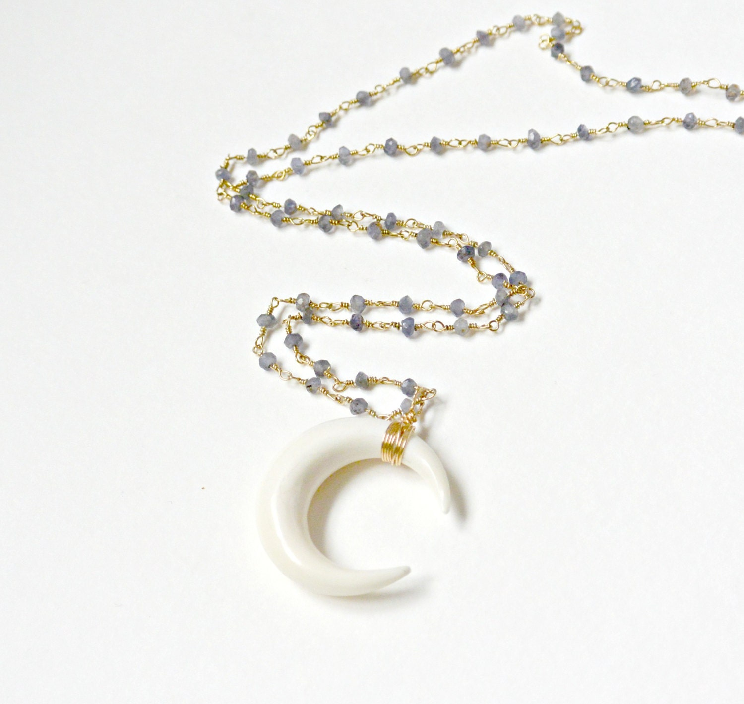 Crescent Horn Necklace: Sideways Double Horn Necklace Crescent Moon Necklace Carved