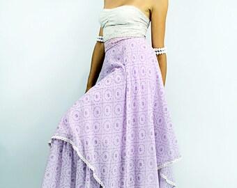 Vintage 70s Layered SCARF MAXI Skirt Lavender Roses Lace Calico Skirt / California // TatiTati Style on Etsy