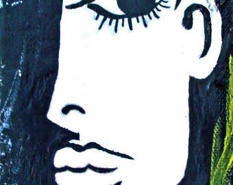 AMORE, ACEO print, Mini Art Print, Collectible Art, Trading Card, Mixed Media Art Print, Abstract Woman, Abstract Art, black, white, yellow
