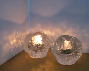 Pair Crystal Candleholders - Two Swedish Votive Holders - Snowball Style Made by Kosta Boda Sweden