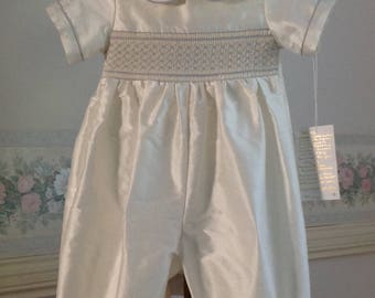 Christening Romper with cap, Silk, hand made, hand smocked in blue thread. Ready to Ship in size 1 year, 12 months,My Antony Outfit for boys