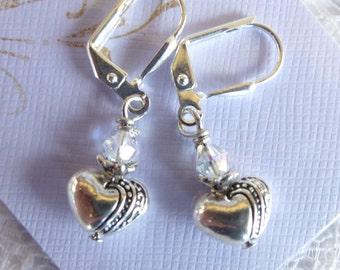 Heart and Crystal Beaded Earrings Valentine Earrings in Antique Silver Tibetan silver heart earrings Silverplated leverbacks