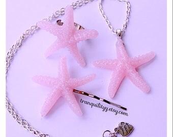 Glitter Starfish Necklace ,Pink Glitter Starfish Hair clip & Ring  , Resin Nautical, Beach  Handmade By: Tranquilityy