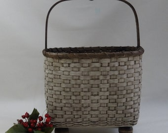 Chair side Magazine Basket / Storage Basket / Handwoven Basket-Primitive Style