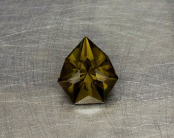 Peridot Deep Olive Natural Loose Untreated Olivine Green Modern Angular Geometric Pear Drop Faceted Gemstone