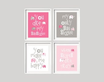 Baby Girl Nursery Art - Elephant Nursery Decor - Elephant Nursery Prints - Elephant Nursery Art - Pink and Gray - You Are My Sunshine Prints