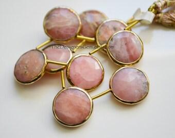 Peruvian Pink Opal Rimmed Beads, Pink Opal Coin Beads, Gold Bezeled Opal Beads, Gold Vermeil Bezeled Beads 16x16mm
