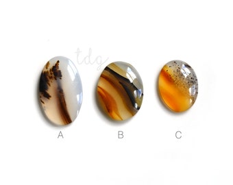ONE Natural Montana Moss Agate Cabochon, Oval Agate Cabochon