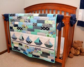 Sailboat Nautical Baby Quilt - Navy Blue Boy Quilt - Modern Patchwork -  Toddler Quilt - Nautical Theme Nursery - Baby Boy Blanket