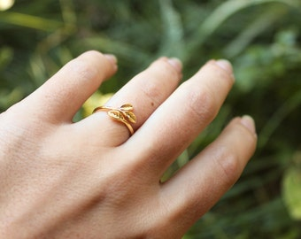 Leaf Ring. Adjustable Gold Ring. New Leaf Ring. Sweet Nature Ring. Skinny Ring.