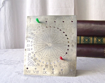 Vintage Desk Calendar Perpetual Calendar Month And Day Office Desk Gift For Dad 1960s