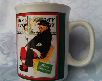 Vintage Norman Rockwell Christmas Mug-The Saturday Evening Post, New Condition