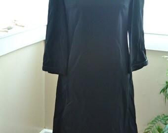 Vintage Black Longsleeve Button Up Dress - M - L