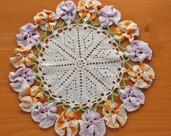 Orange and Purple Flower Border Doily, Vintage Crochet Doily with Pansy Flower Border, 11.5 inch