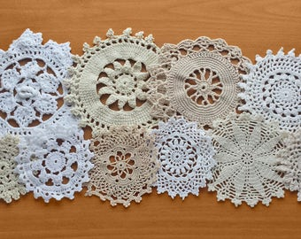 10 Crocheted Doilies, Natural Tone Crochet Medallions Assortment, 3 to 6 inch sizes, Boho Crafts Doilies, Dream Catcher Doilies