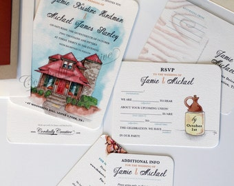 Wedding Invitation for Moonshine Hill featuring my watercolor illustration of a venue in Leiper's Fork TN