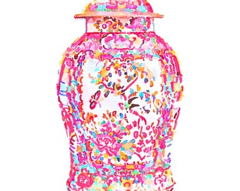Pink Ginger Jar Art Print Chinoiserie Chinese Palm Beach Hollywood Regency