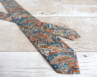 Teal Paisley Tie - Blue Liberty Print Necktie - 70s Style Tie - Wedding Necktie - Paisley Tana Lawn - Gift for Brother - Fathers Day Gift
