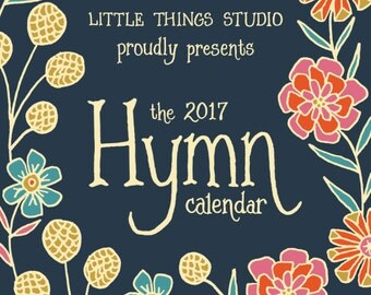 50% off 2017 Floral Hymn Calendar by Little Things Studio, 12-month calendar, wall calendar, floral calendar, small desk calendar