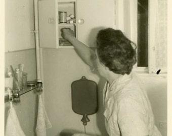"Vintage Photo ""Should be Right Here"" Woman Bathroom Snapshot Antique Photo Black & White Photograph Found Paper Ephemera Vernacular - 175"